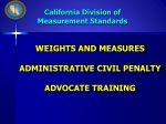 WEIGHTS AND MEASURES ADMINISTRATIVE CIVIL PENALTY ADVOCATE TRAINING