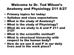 Welcome to Dr. Ted Wilson's Anatomy and Physiology 211 8/27