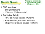 CCC Meetings 29 September 2015 27 October 2015 (upcoming ) Committee Activity