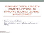 Assignment Design: A Faculty-Centered Approach to Improving Teaching, Learning, and Assessment