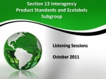 Section  13 Interagency  Product Standards and Ecolabels Subgroup