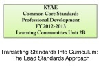 KYAE Common Core Standards Professional Development FY 2012-2013 Learning Communities Unit 2B