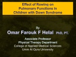 Effect of Rowing on Pulmonary Functions in Children with Down Syndrome