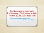 Admission Arrangements for Nursery (K1) Classes in KGs for the 2020/21 School Year