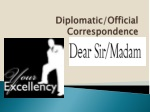 Diplomatic/Official Correspondence