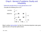 Chap 9. General LP problems: Duality and Infeasibility