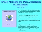 """NAME Modeling and Data Assimilation """"White Paper"""" June 2003"""