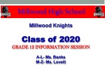 Millwood Knights Class of 2020 GRADE 12 INFORMATION SESSION A-L- Ms. Banks M-Z- Ms. Lovett