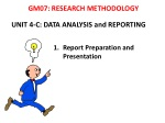 UNIT 4-C: DATA ANALYSIS and REPORTING