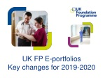 UK FP E-portfolios Key changes for 2019-2020