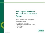 The Capital Markets - The Return of Risk and Return