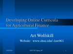 Developing Online Curricula  for Agricultural Finance