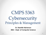 CMPS 5363 Cybersecurity Principles & Management