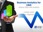 Business Analytics for CRM