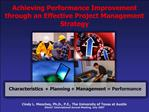 Achieving Performance Improvement through an Effective Project Management Strategy