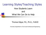 Learning Styles/Teaching Styles