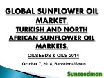 GLOBAL SUNFLOWER OIL MARKET. TURKISH AND NORTH AFRICAN SUNFLOWER OIL MARKETS.