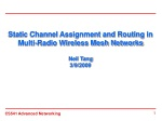 Static Channel Assignment and Routing in Multi-Radio Wireless Mesh Networks Neil Tang 3/9/2009