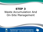 STEP 3 Waste Accumulation And On-Site Management