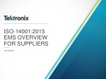 ISO-14001:2015 EMS OVERVIEW FOR SUPPLIERS