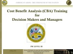Cost Benefit Analysis (CBA) Training for Decision Makers and Managers