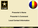 Presenter's Name Presenter's Command Local Contact Information