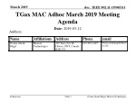 TGax MAC Adhoc March 2019 Meeting Agenda