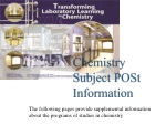Chemistry Subject POSt Information
