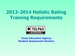 2013-2014 Holistic Rating Training Requirements Texas Education Agency Student Assessment Division