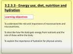 3.2.3.3 - Energy use, diet, nutrition and hydration