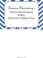 Tanaina Elementary's Parent Involvement Policy 2016-2017  School Year