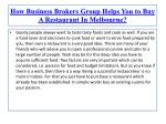 How Business Brokers Group Helps You to Buy A Restaurant In