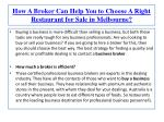 How A Broker Can Help You to Choose A Right Restaurant for S