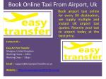 Book online taxi from airport, Uk