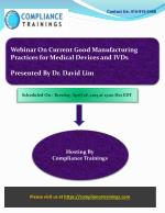 Webinar On Current Good Manufacturing Practices (cGMP) for M