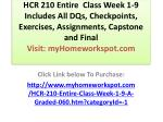 HCR 210 Entire Class Week 1-9 Includes All DQs, Checkpoints