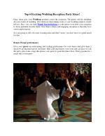 Top 6 Exciting Wedding Reception Party Ideas!