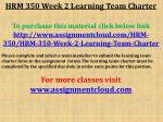 HRM 350 Week 2 Learning Team Charter