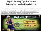 Expert Betting Tips for Sports Betting Success by Playdoit.c