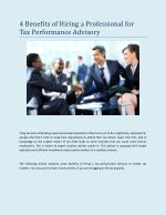 4 Benefits of Hiring a Professional for Tax Performance Advi