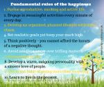 Fundamental rules of the happiness