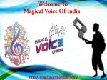 Welcome To Magical Voice Of India