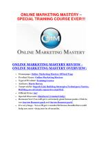 Online Marketing Mastery review demo and $14800 bonuses