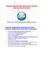 Online Marketing Mastery review and (FREE) $12,700 bonus-Online Marketing Mastery Discount