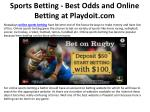 Sports Betting - Best Odds and Online Betting at Playdoit.com