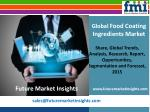 Forecast On Food Coating Ingredients Market: Global Industry Analysis and Trends till 2025 by Future Market Insights