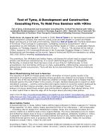 Test of Tyme, A Development and Construction Consulting Firm, To Hold Free Seminar with Olive