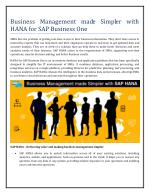 Business Management made Simpler with HANA for SAP Business One