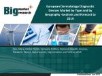 The European dermatology diagnostic devices market is estimated to grow at a CAGR of 9.6% from 2014 to 2019