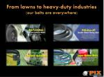 From lawns to heavy-duty industries - our belts are everywhere